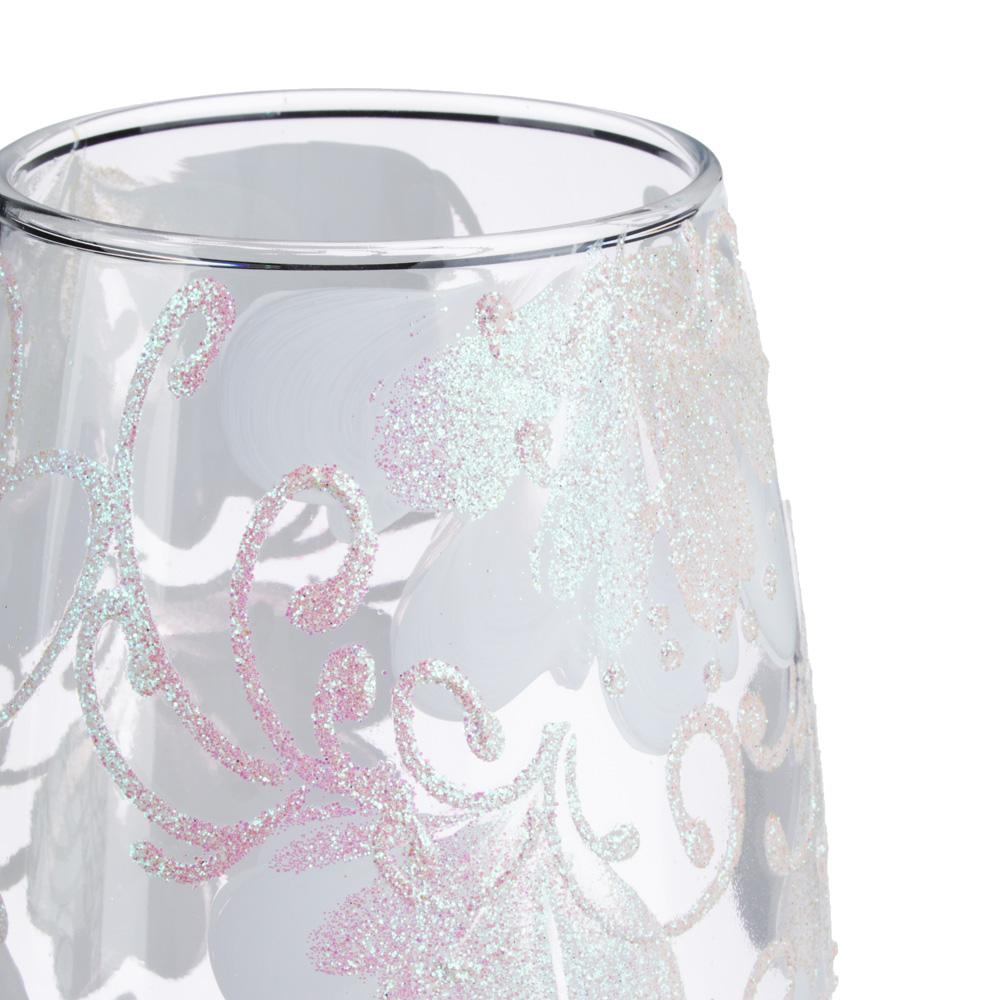 PASABAHCE Ваза стеклянная, ручная роспись, с цветами, 25х11 см, 2 дизайна
