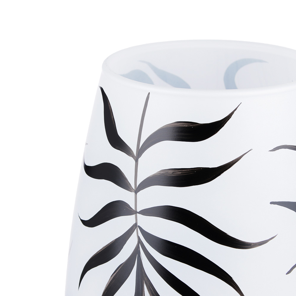 PASABAHCE Ваза стеклянная, ручная роспись, белая с рисунками, 26х11 см, 2 дизайна