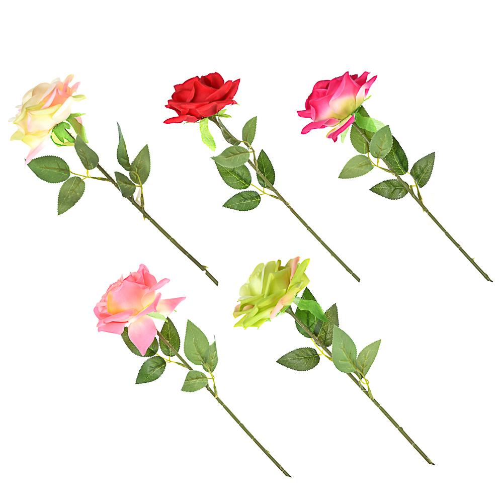 Цветок искусственный в виде розы, пластик, полиэстер, 55 см, 6 цветов