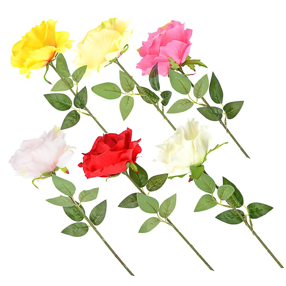 Цветок искусственный в виде розы, пластик, полиэстер, 57 см, 6 цветов