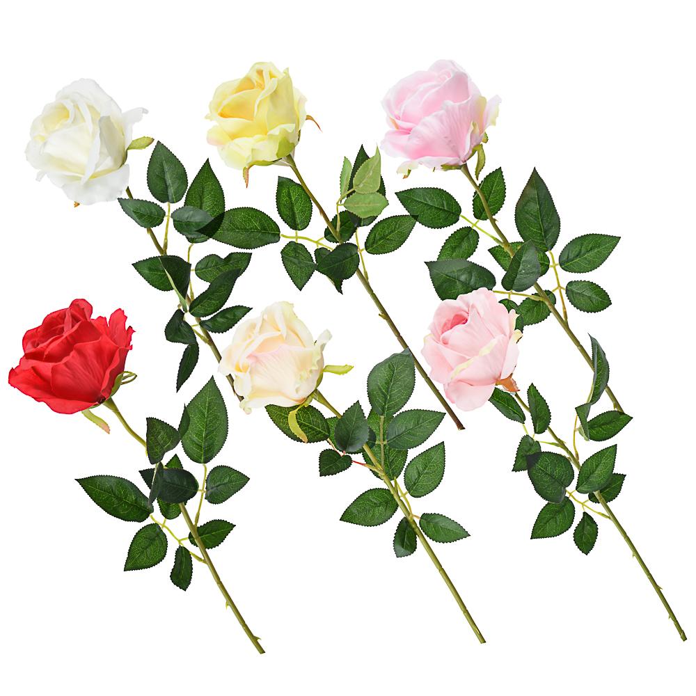 Цветок искусственный в виде розы, пластик, полиэстер, 64 см, 6 цветов