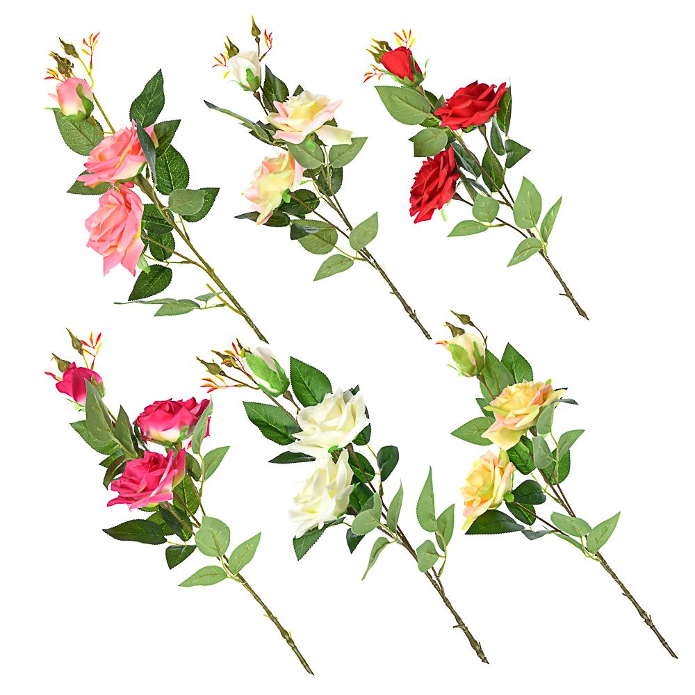 Цветок искусственный в виде ветки с розами, пластик, полиэстер, 94 см, 6 цветов
