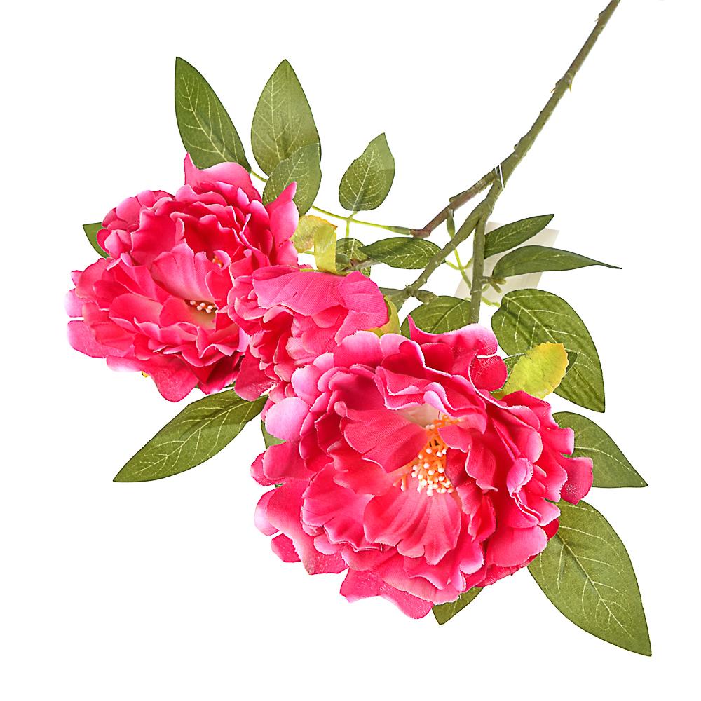 Цветок искусственный в виде пионов, пластик, полиэстер, 66 см, 6 цветов
