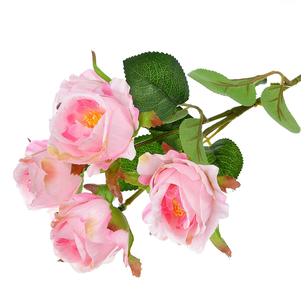 Цветок искусственный в виде веток роз, пластик, полиэстер, 39 см, 6 цветов