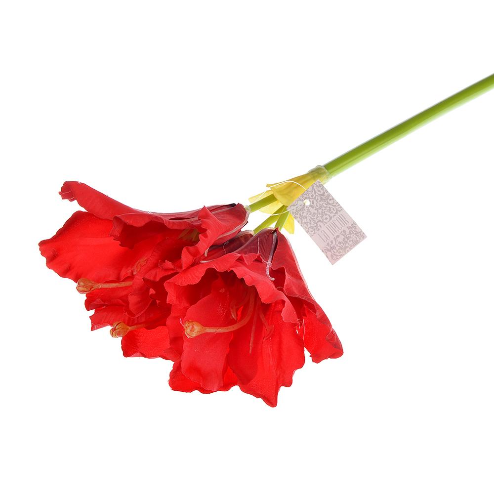 Цветок искусственный в виде гиппеаструма, пластик, полиэстер, 60 см, 3 цвета