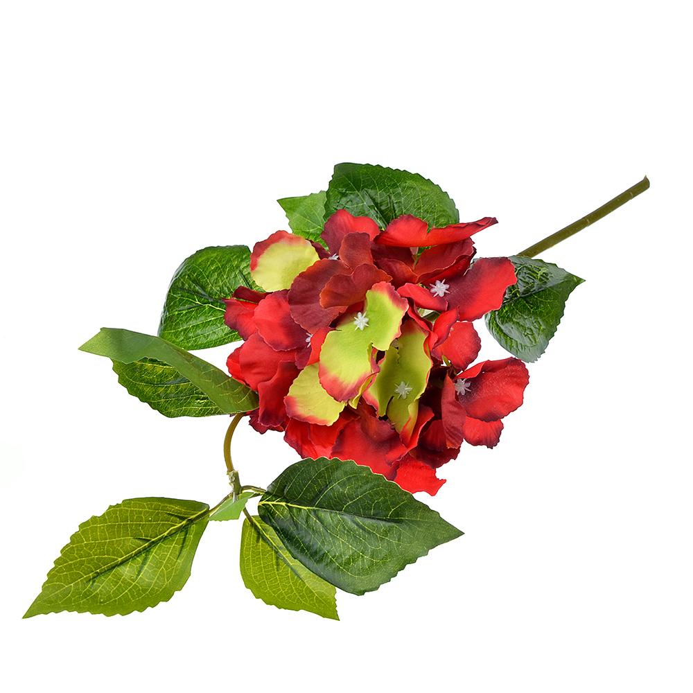 Цветок искусственный в виде гортензии, пластик, полиэстер, 35 см, 6 цветов