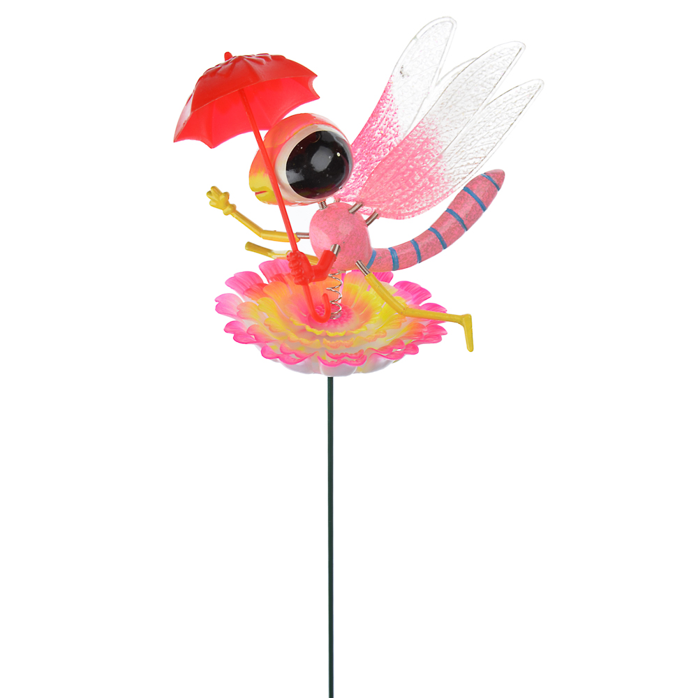 """INBLOOM Фигурки садовые на металл.стержне 60 см """"Насекомые с зонтами"""", пластик, 5 видов"""