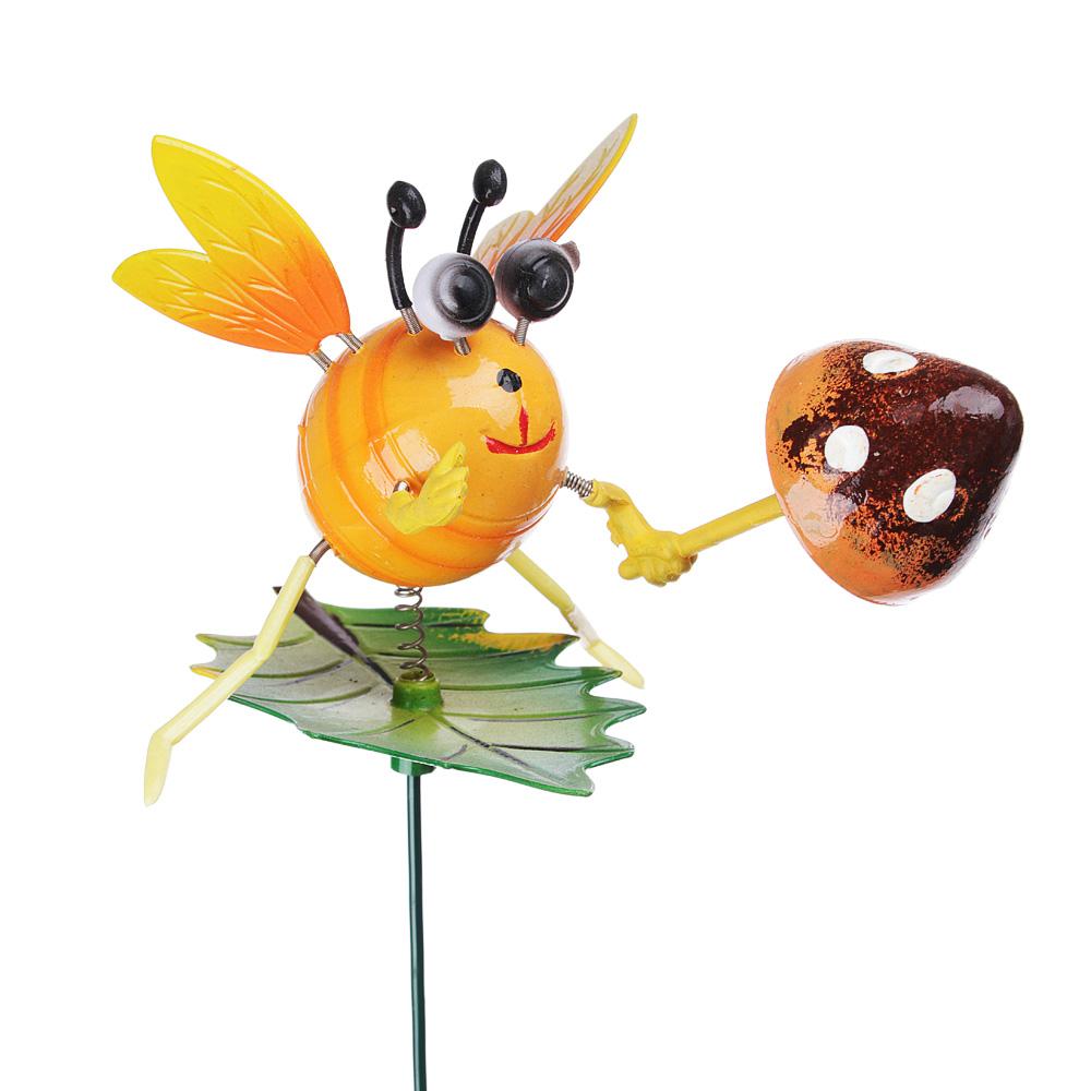 """INBLOOM Фигурки садовые на металл.стержне 60 см """"Насекомые с грибами"""", пластик, 5 видов"""