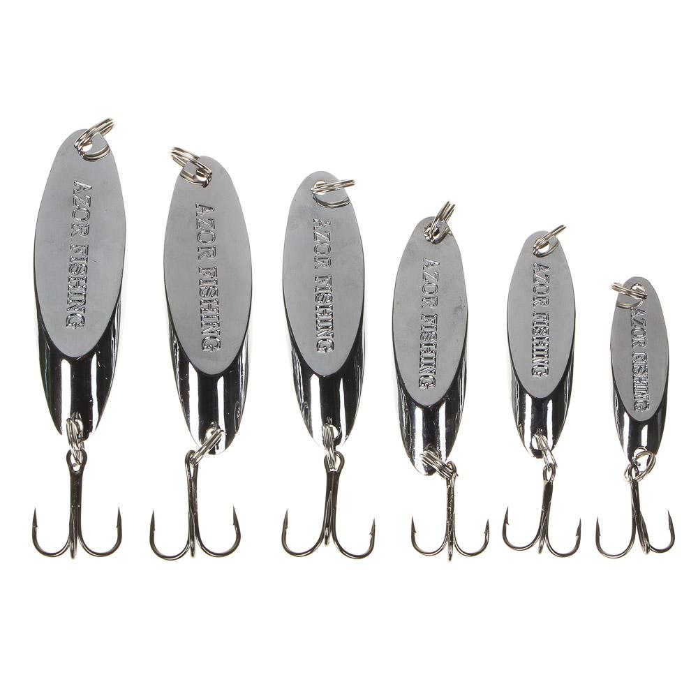 AZOR FISHING Блесна, колеблющаяся, тип Кастмастер, цвет серебро, микс 7, 10, 14, 18, 21, 25гр