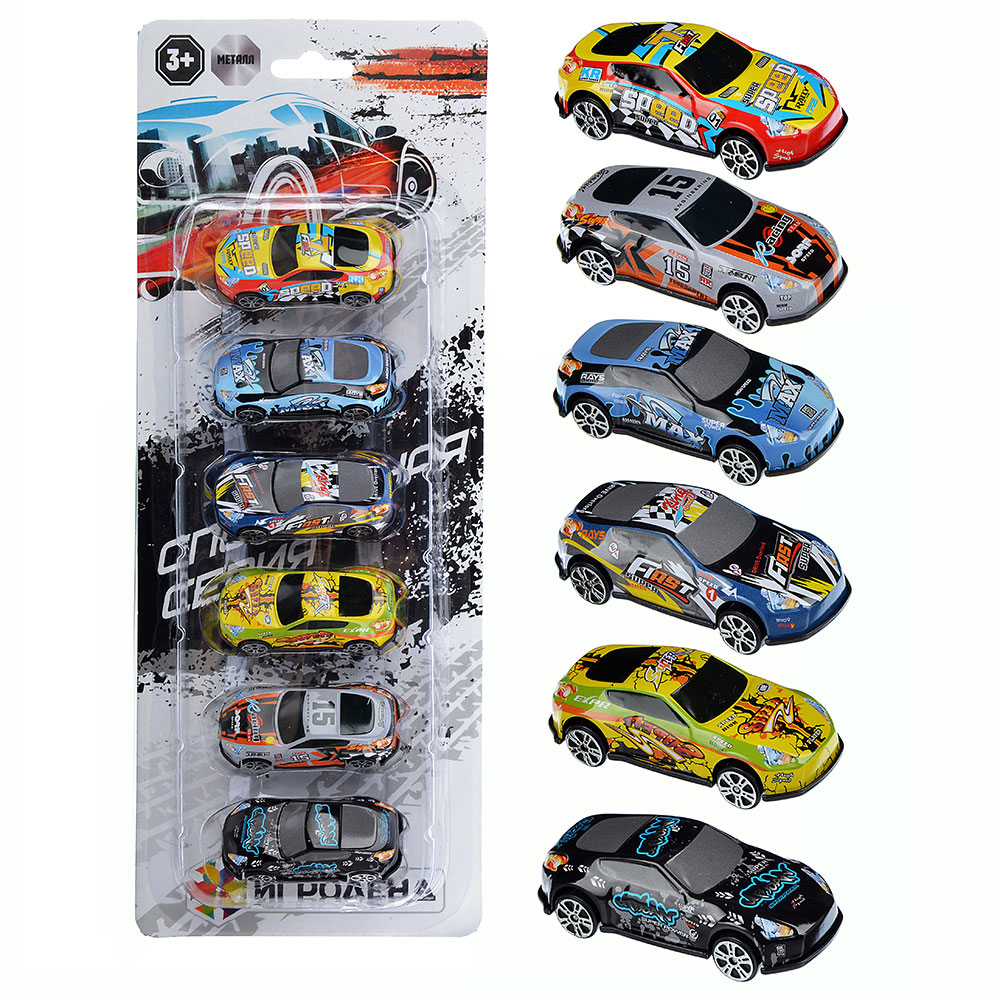 ИГРОЛЕНД Набор 6 машинок, ABS, 34,1х13,1х3,3см, 6 дизайнов, A-01
