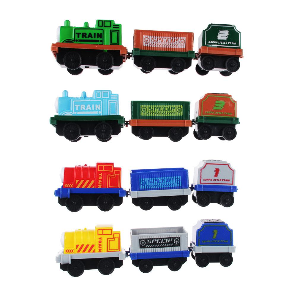 ИГРОЛЕНД Набор паровозиков с составами, движение, 12 предметов, пластик, 32х43,5х4см