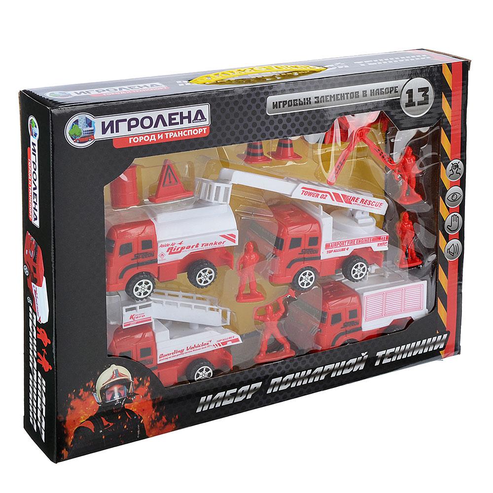 ИГРОЛЕНД Набор пожарной техники, 13 предметов, пластик, 38,5х6х28,5 см, 223-7727
