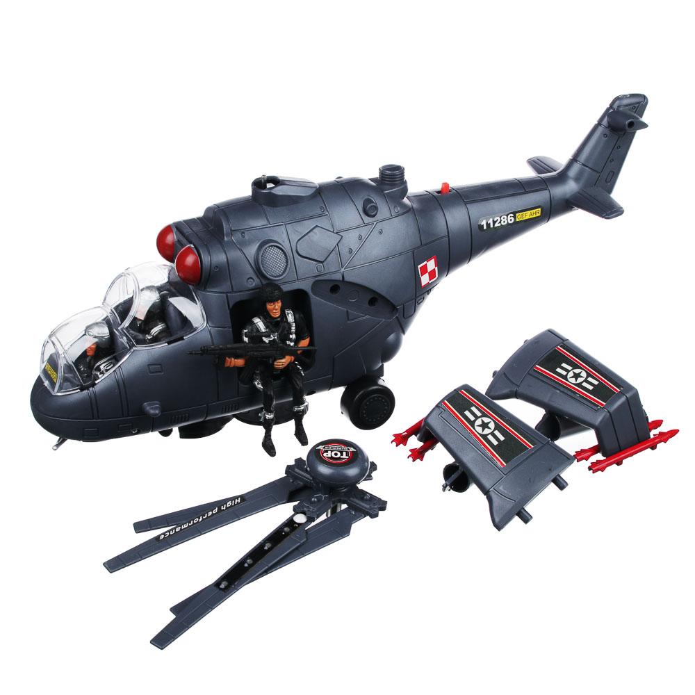 ИГРОЛЕНД Вертолет со свет.и звук.эффектами, функция движения, пластик, 40х9х12,5см, 2 дизайна,H9967