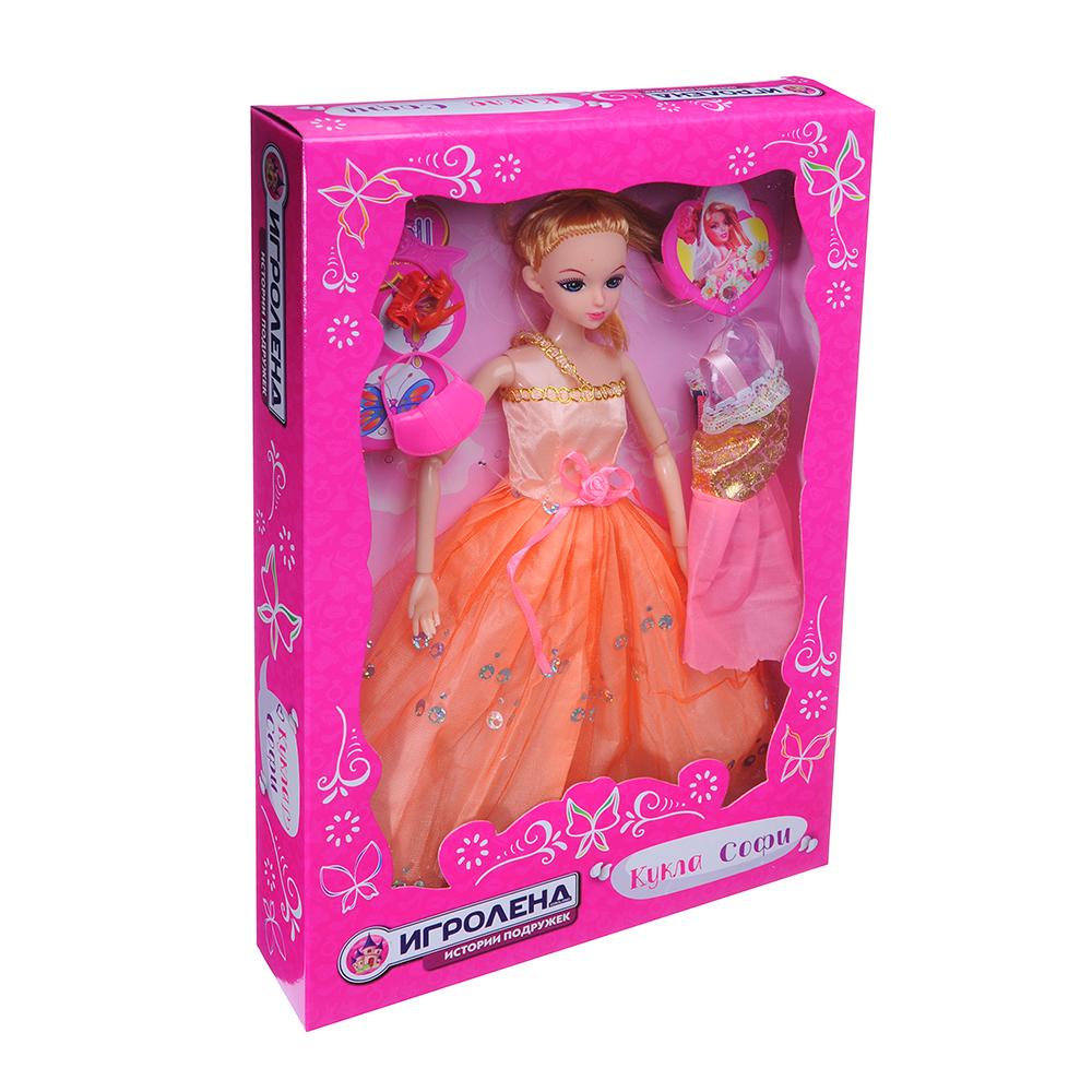ИГРОЛЕНД Кукла шарнирная в бальном платье с аксессуарами, 30см, пластик, 21х33х4,8см