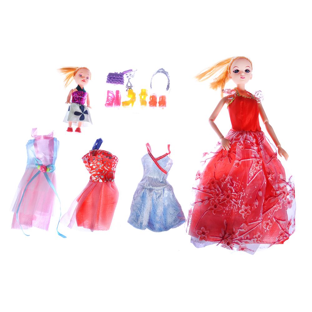 ИГРОЛЕНД Кукла шарнирн. в бальн. платье + мини-кукла и набор аксессуаров,30см,пластик,29х32х6см