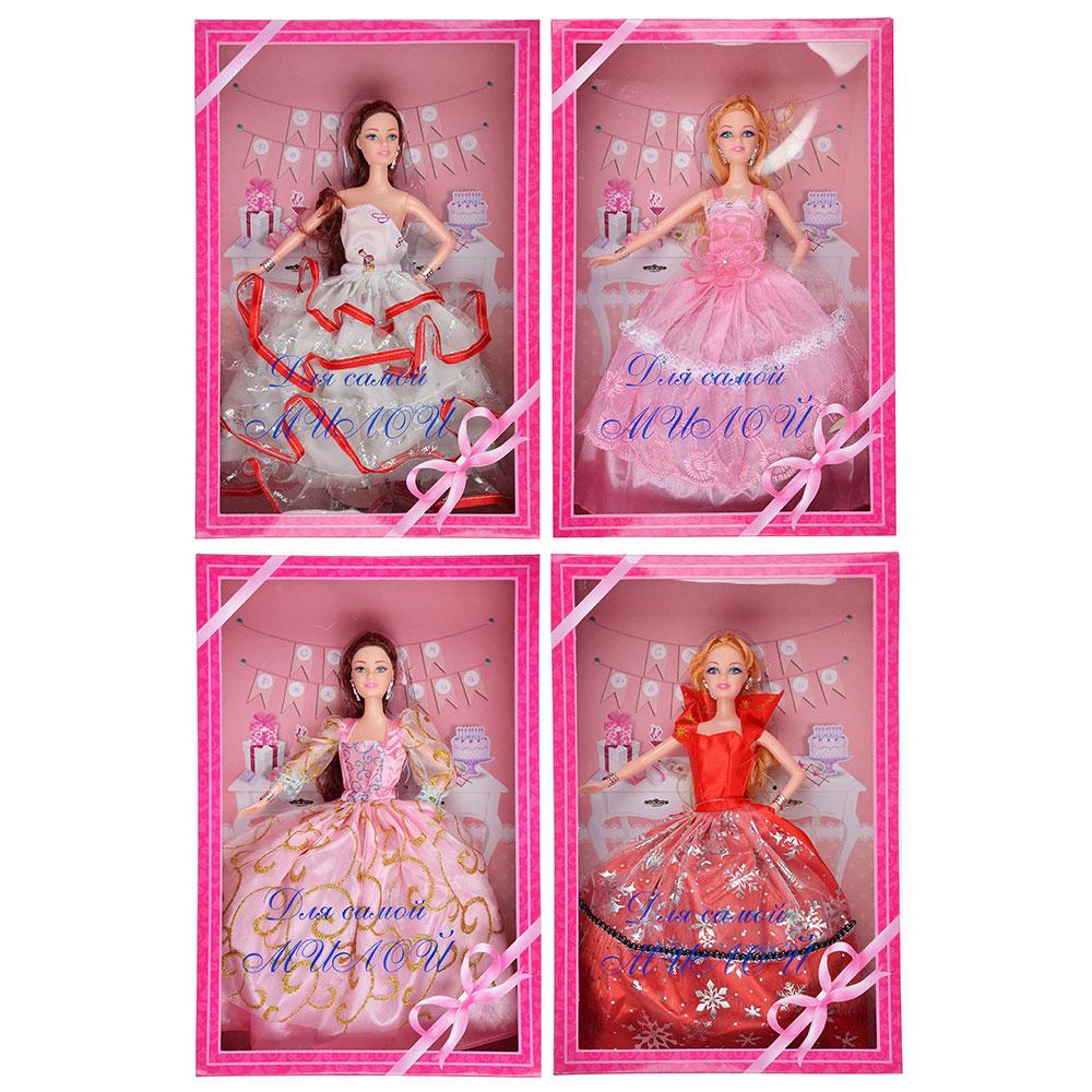 ИГРОЛЕНД Кукла в бальном платье (премиум), 30см, пластик, 23х34,5х7,5см, 4 дизайна