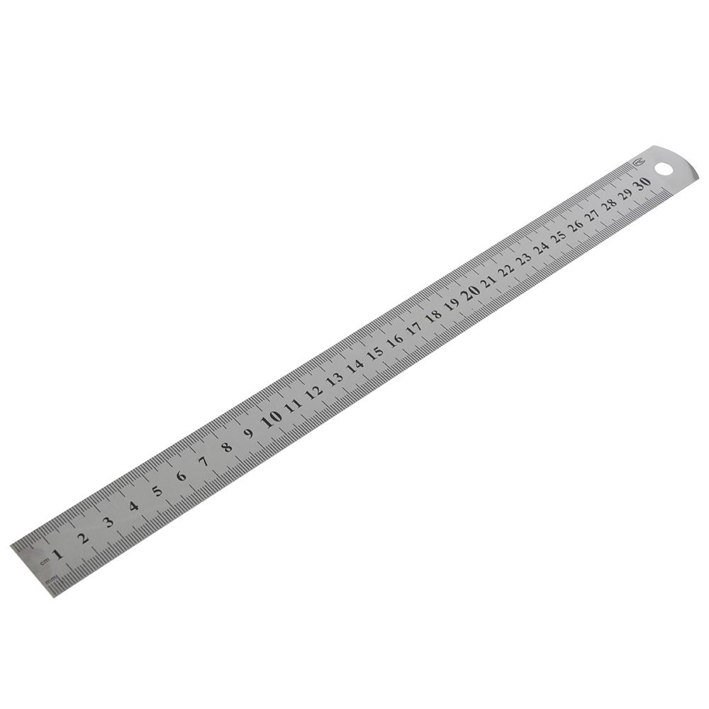 Линейка стальная 30 см, толщина 0,3 мм
