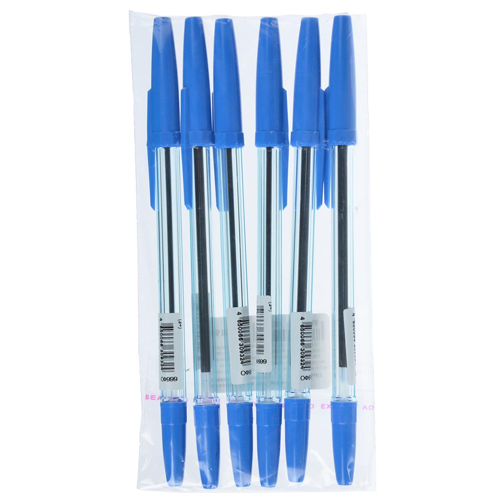 СТАММ Набор ручек шариковых 6шт, пластик, цвет синий, ОФ999, 566129