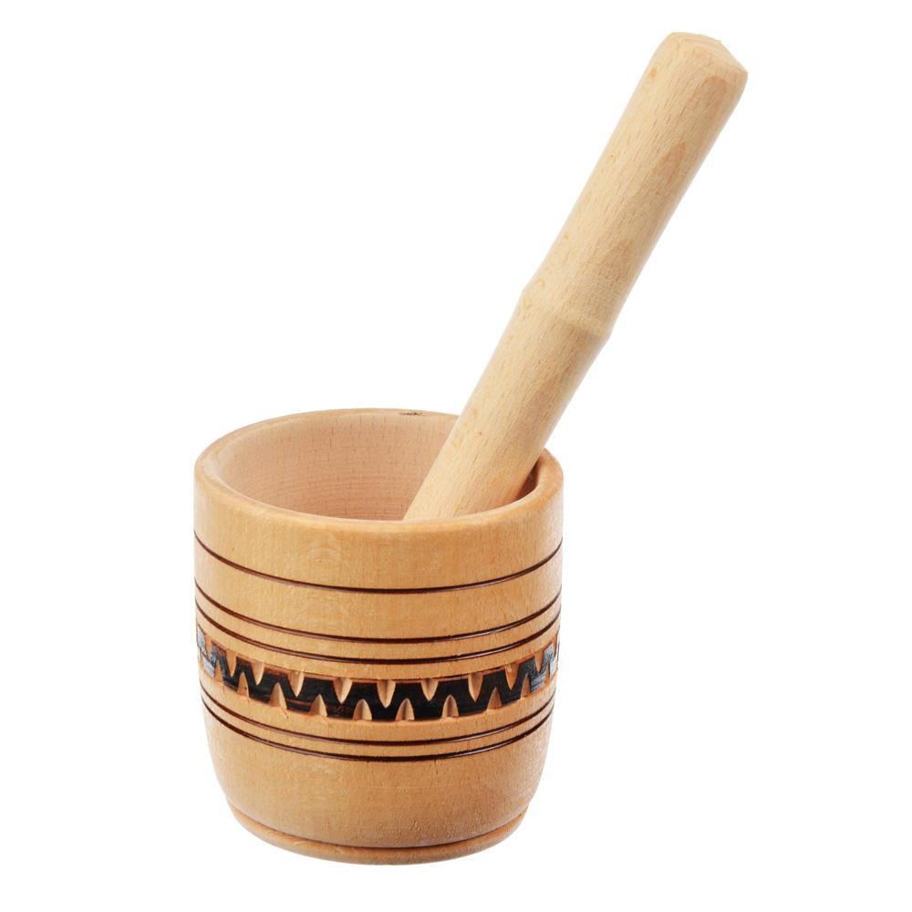 Ступка с пестиком деревянная, h10см, d9см