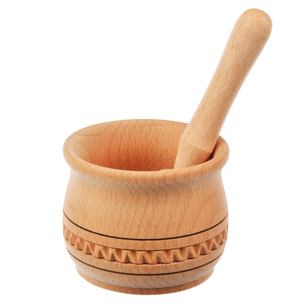 Ступка с пестиком деревянная пропитанная h10см, d9см