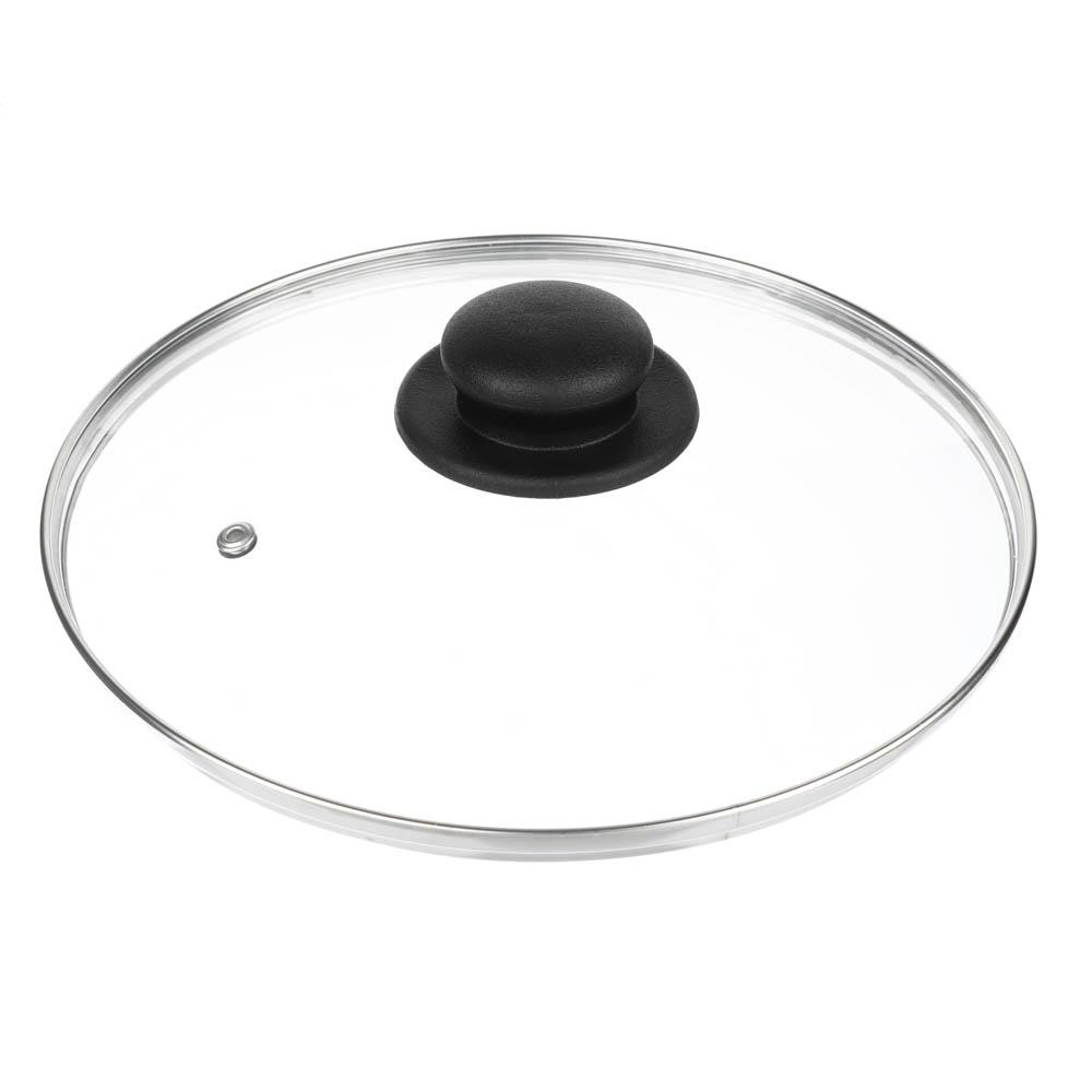 Крышка для сковороды d. 24 см, стеклянная, с  металическим ободком в сборе