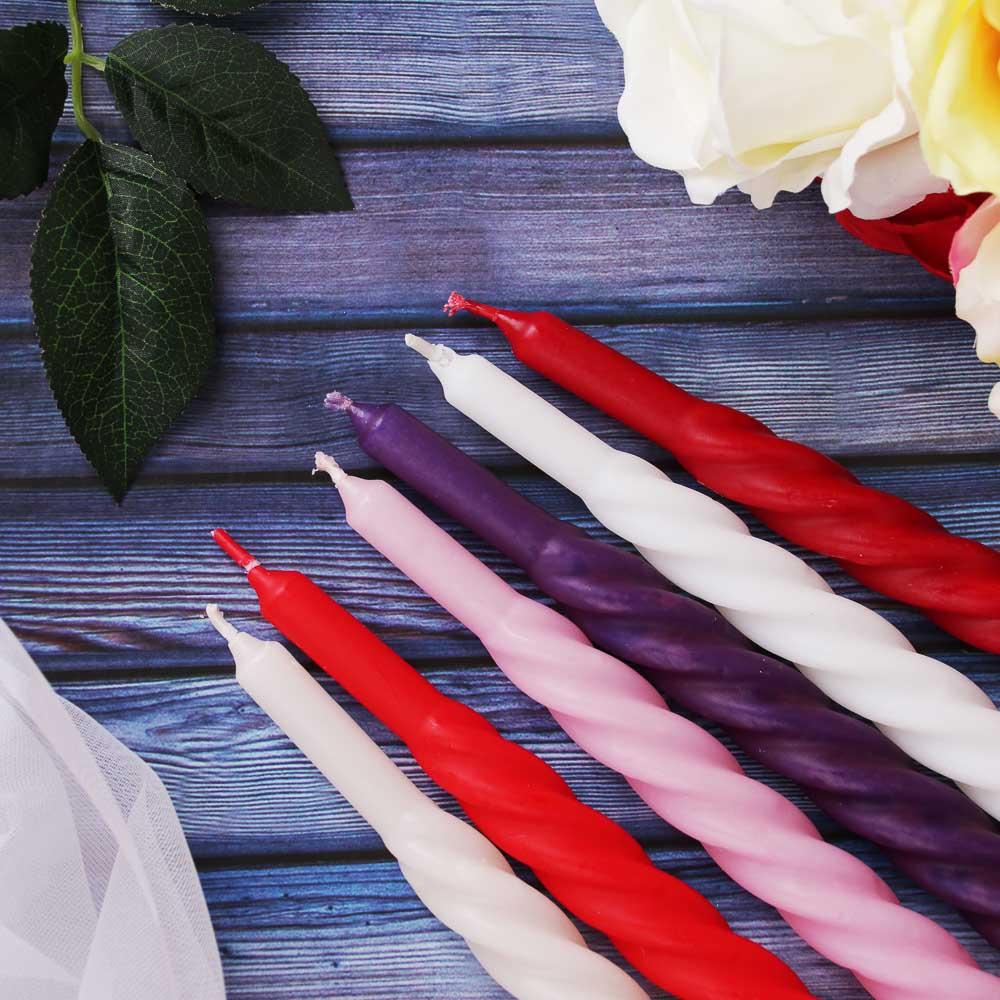 """Свеча винтовая """"Барокко-1"""", парафиновая, 24 см, 6 цветов, 13818101001"""