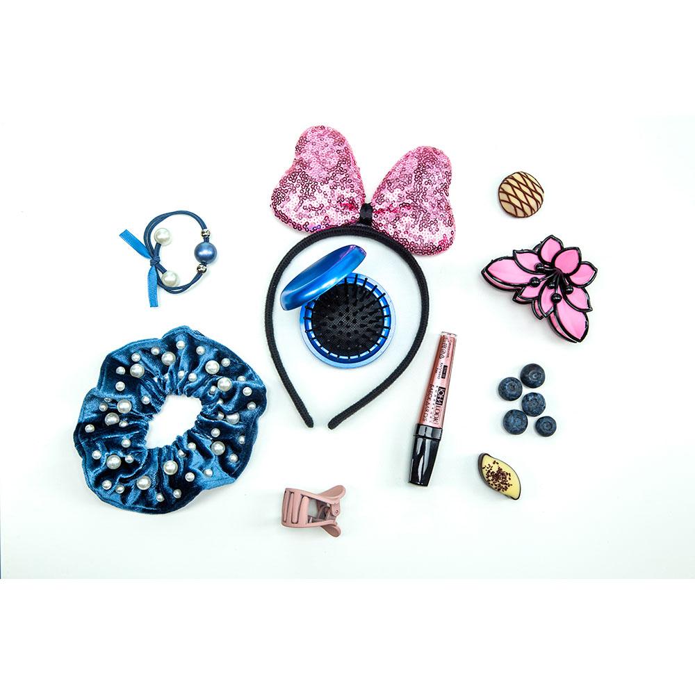 Резинка для волос с декором, полиэстер, пластик, d5см, 2 дизайна, РВ-03