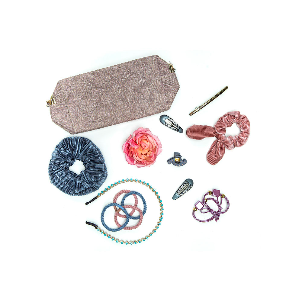 Набор резинок для волос 2шт, полиэстер, пластик, 4,5см, 6 цветов, РВ-05
