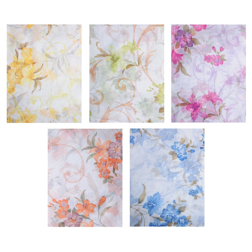 """Штора для кухни, ПЭ, 285х160см, """"Цветочная поляна"""", 5 цветов"""