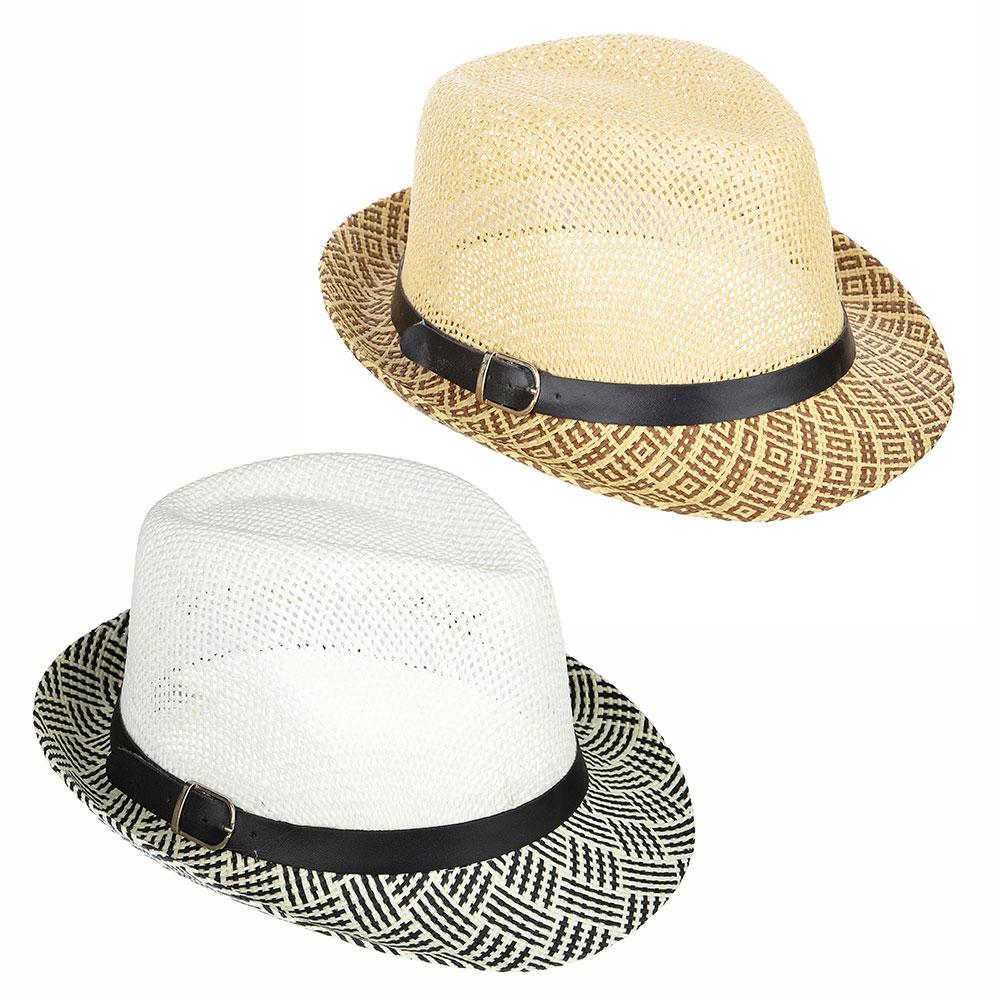 Шляпа молодежная, 35% хлопок, 65% полиэстер, р-р 56-58, 2 дизайна, 4 цвета, ШЛ19-24