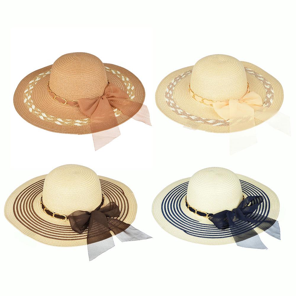 Шляпа женская, 100% целлюлоза, р-р 58, 2 дизайна, 4 цвета, ШЛ19-39
