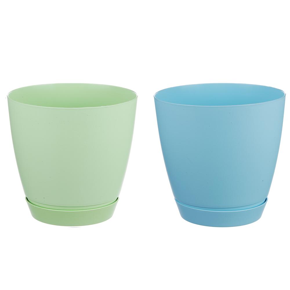 Горшок для цветов с поддоном, полипропилен, 1,4 л, белый, салатовый, розовый, голубой, Камея
