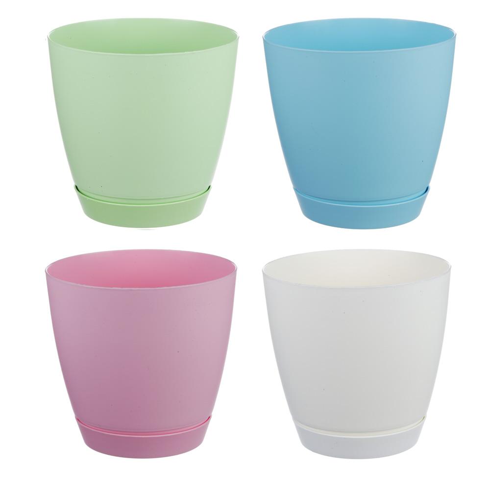 Горшок для цветов с поддоном, полипропилен, 2,2 л, белый, салатовый, розовый, голубой, Камея