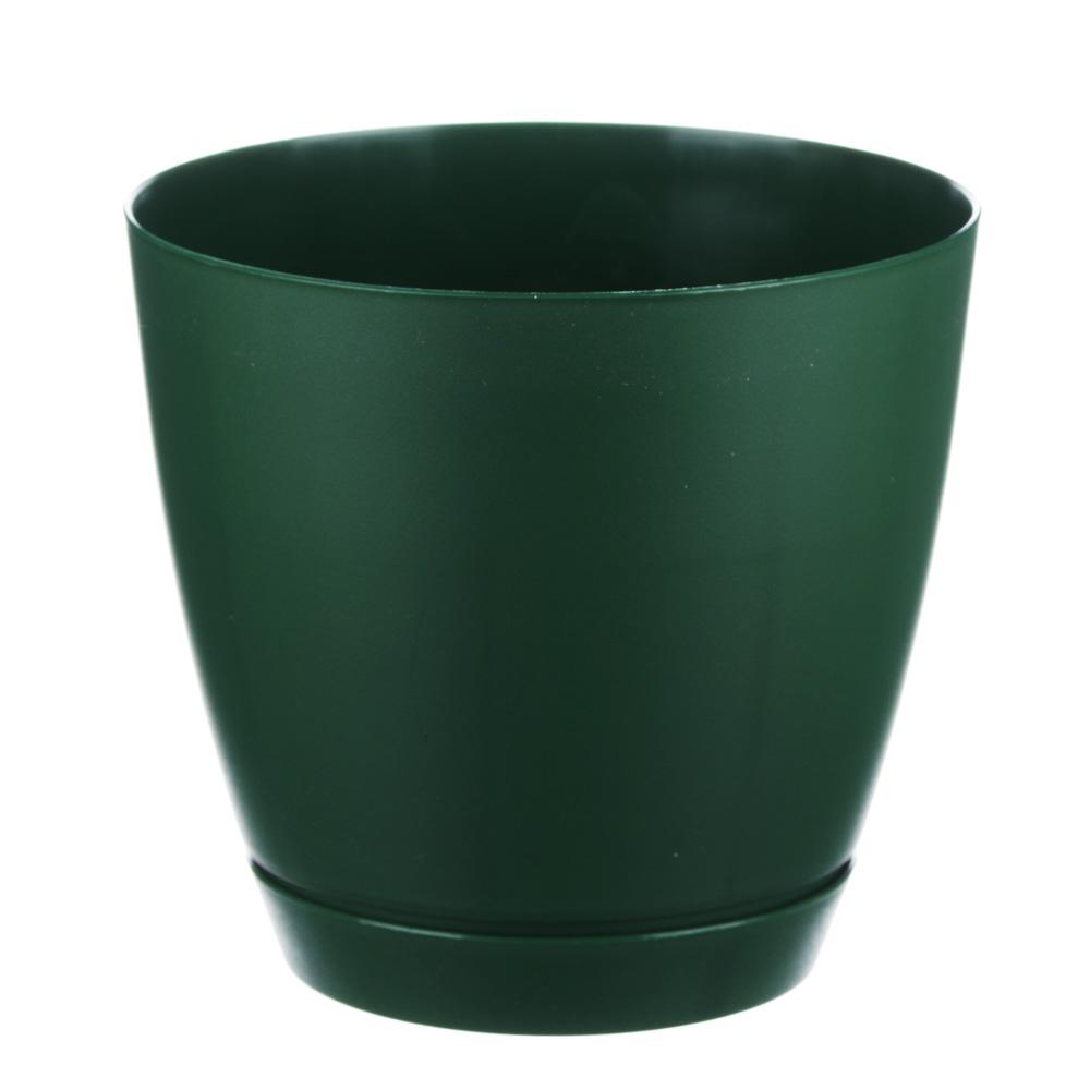 Горшок для цветов с поддоном, полипропилен, 2,2 л, бежевый, мрамор, зеленый, мята, Камея