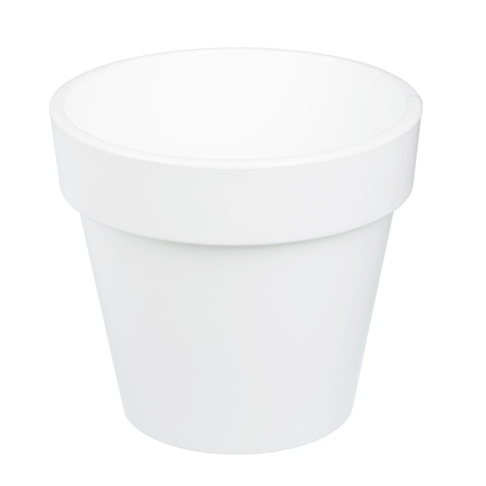 Горшок цветочный с вкладкой, пластик, 2,3 л, белый, Протея