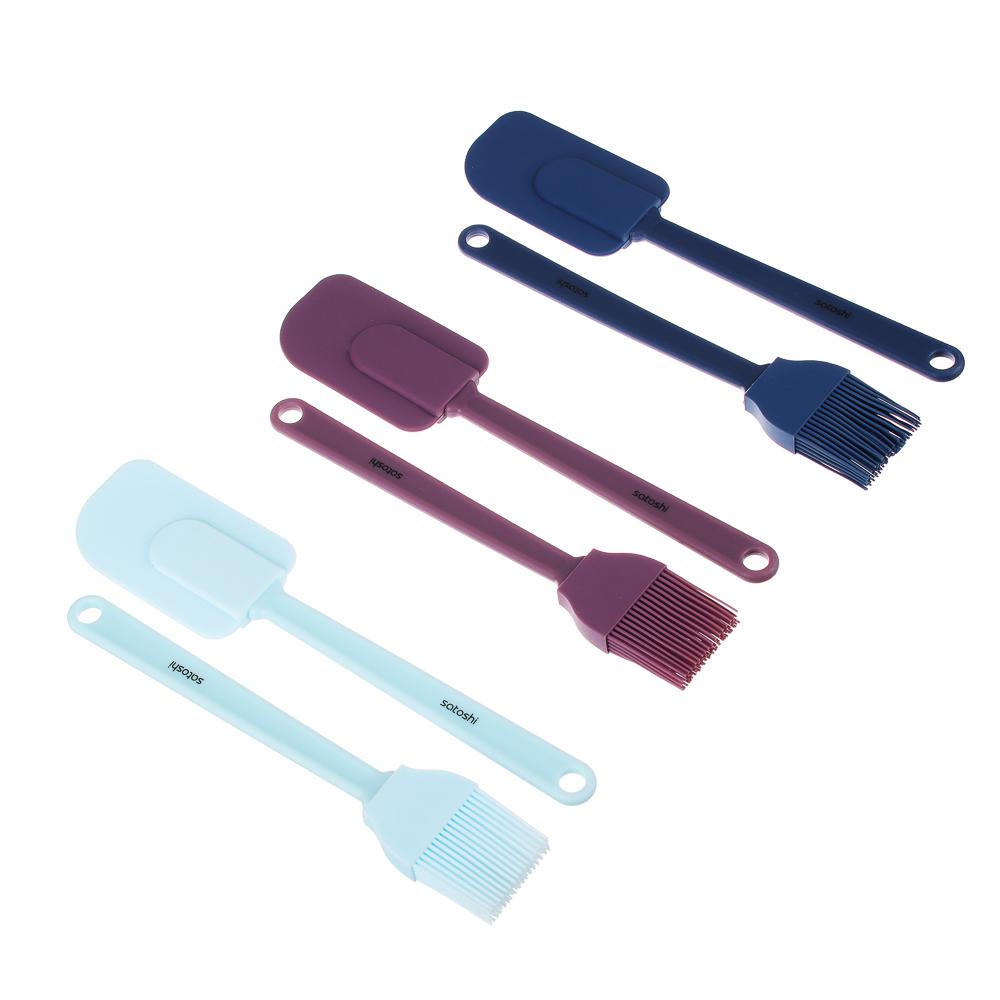 """Кулинарный набор: кисточка кондитерская, лопатка, силикон, SATOSHI """"Малибу"""""""