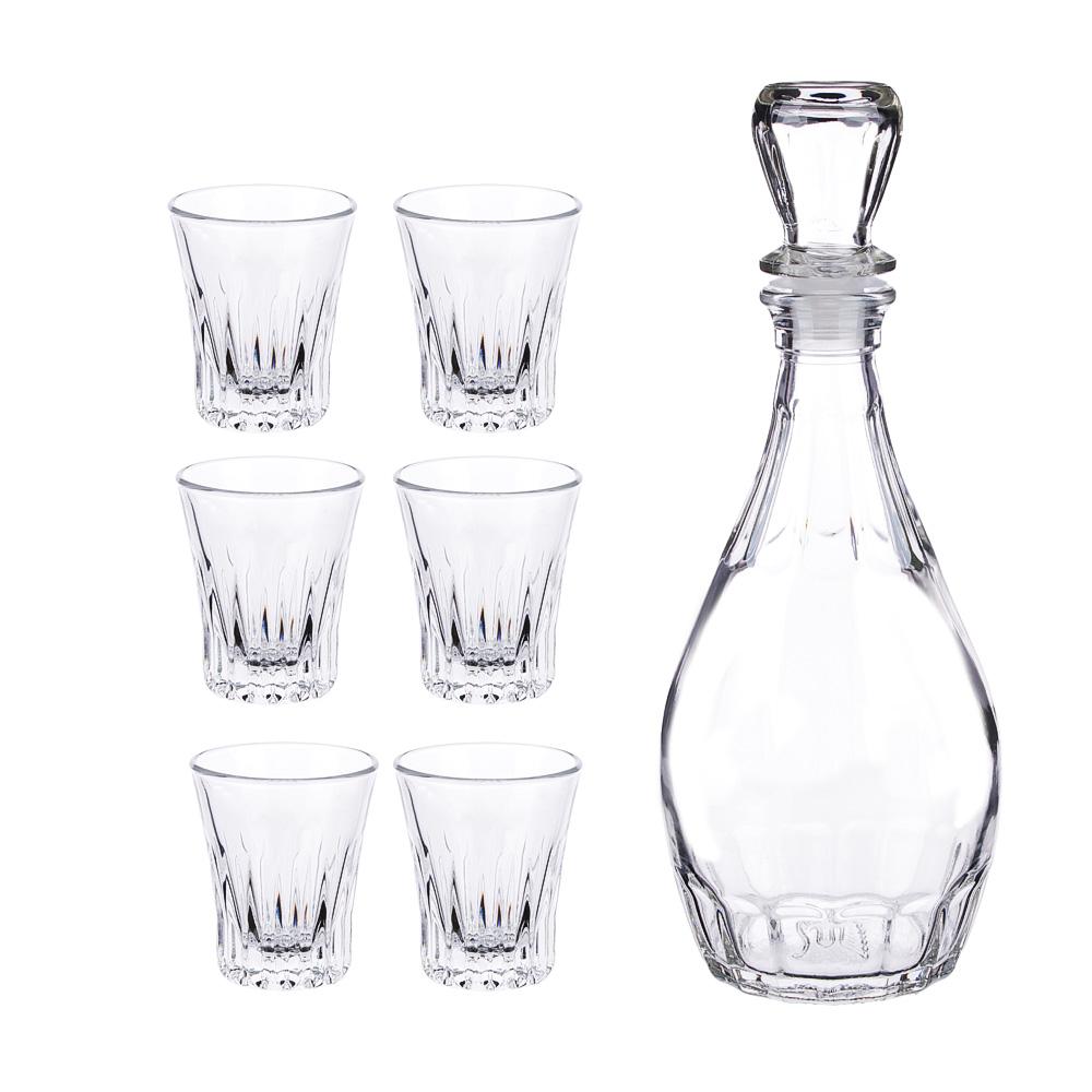 Набор для вина 7пр (графин 500мл, 6 стопок 50мл), стекло, Дионис