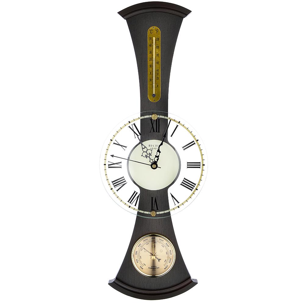 Барометр-часы настенные, электронно-механические кварцевые, дерево, АА/1,5 В, 59х22 см, СЧК-198