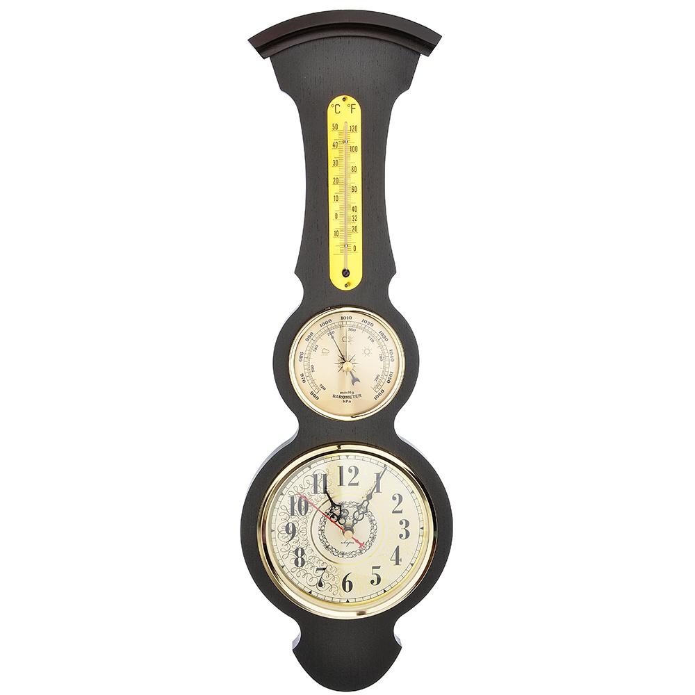 Барометр-часы настенные, электронно-механические кварцевые, дерево, АА/1,5 В, 50х17 см, СЧК-199