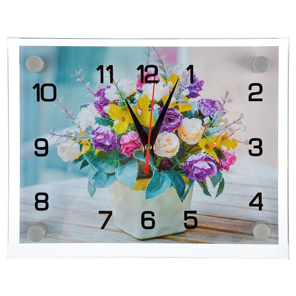 "Часы настенные стеклянные, 20х26 см, ""Букет"""