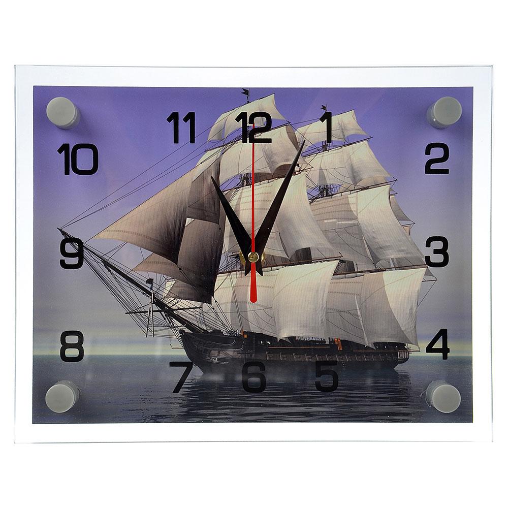 "Часы настенные стеклянные 20х26 см, ""Корабль"""