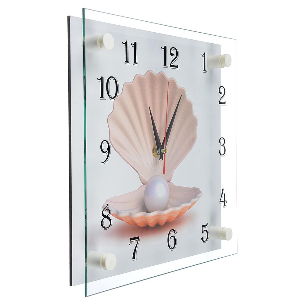 """Часы настенные стеклянные, 25х25 см, """"Ракушка с жемчужиной"""""""