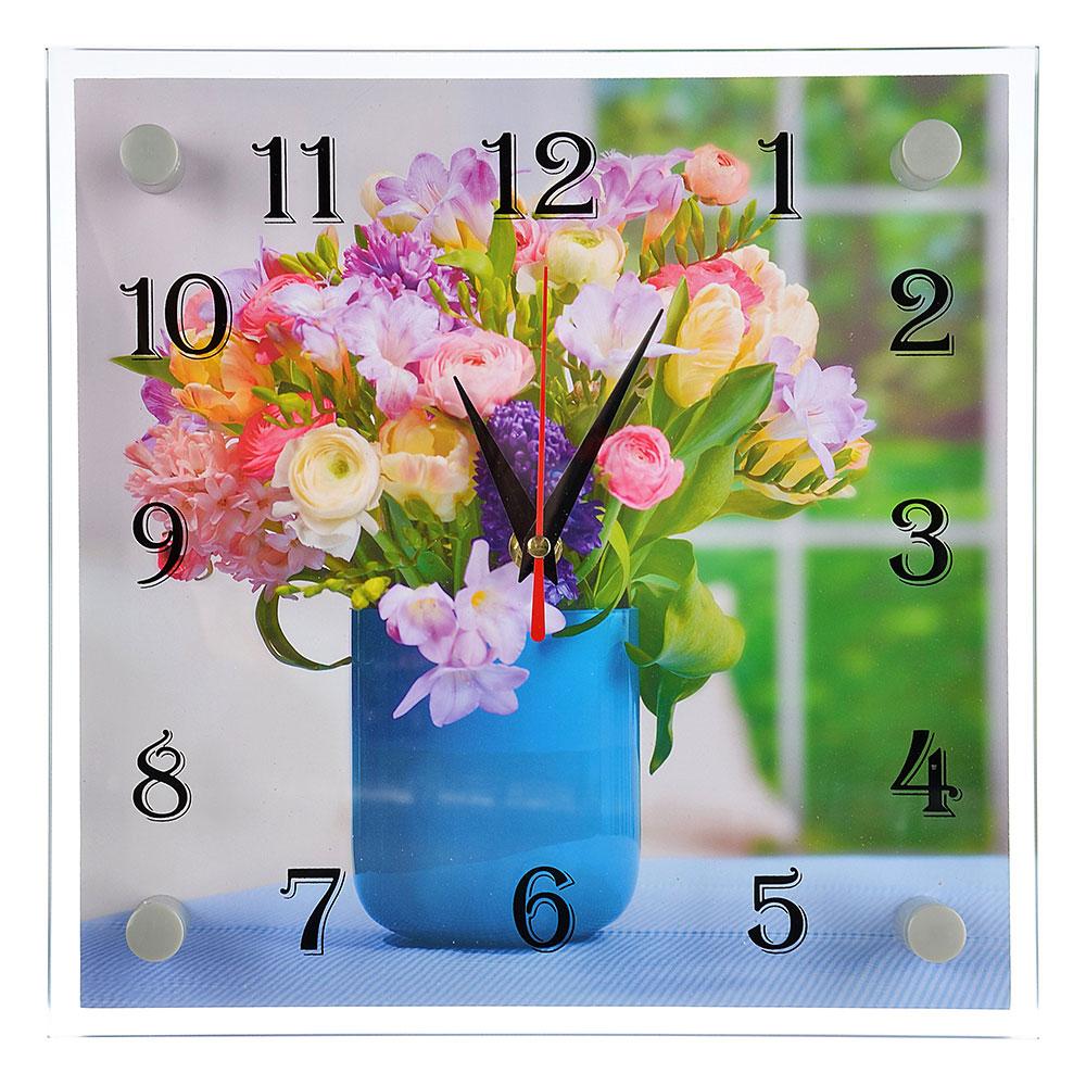 "Часы настенные стеклянные, 25х25 см, ""Букет лесных цветов"""