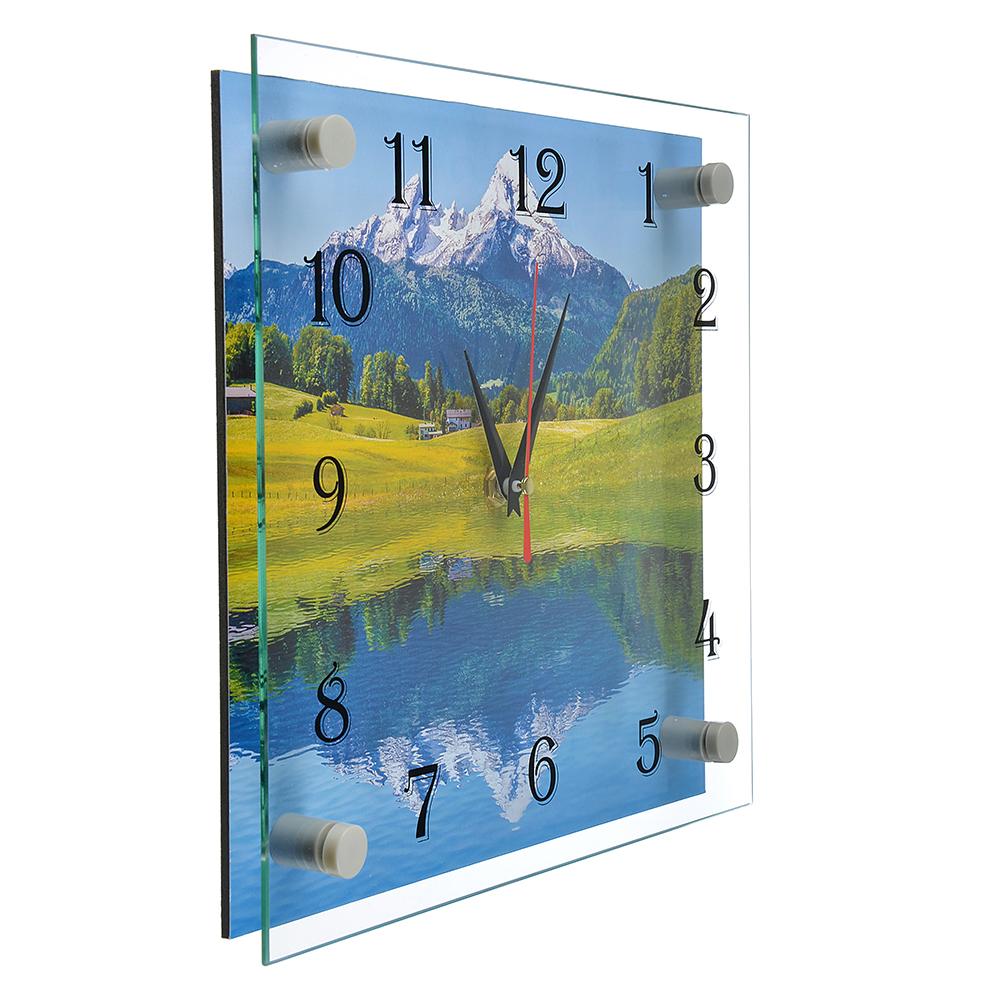 """Часы настенные стеклянные, 25х25 см, """"Озеро в горах"""""""