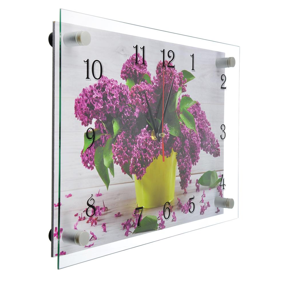 """Часы настенные стеклянные, 25х35 см, """"Сиреневая нежность"""""""