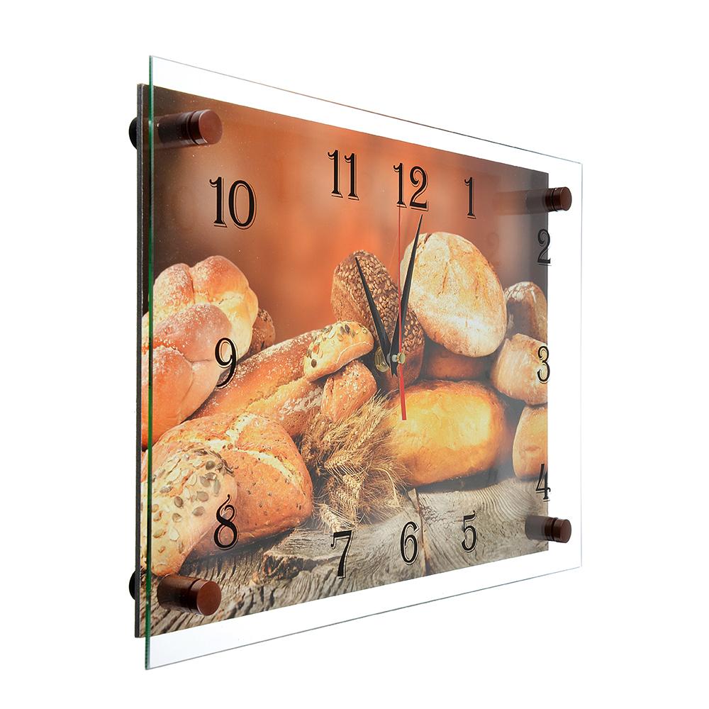 """Часы настенные стеклянные, 25х35 см, """"Хлебное изобилие"""""""