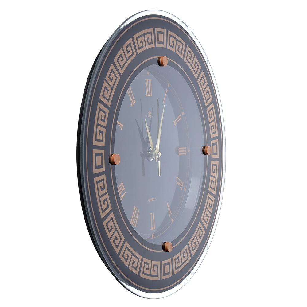 """Часы настенные круглые, стекло, d31см, черный, """"Классика с римскими цифрами"""""""