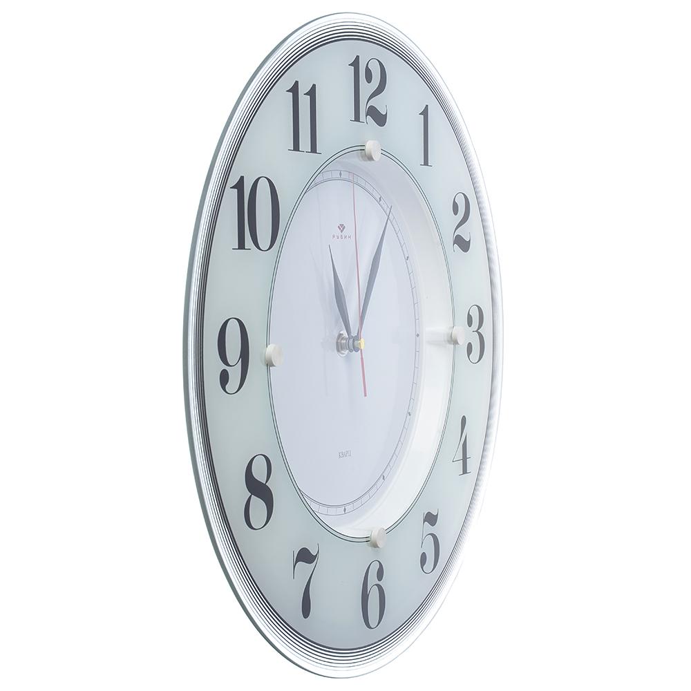"""Часы настенные круглые, стекло, d34см, белый, """"Классика"""""""