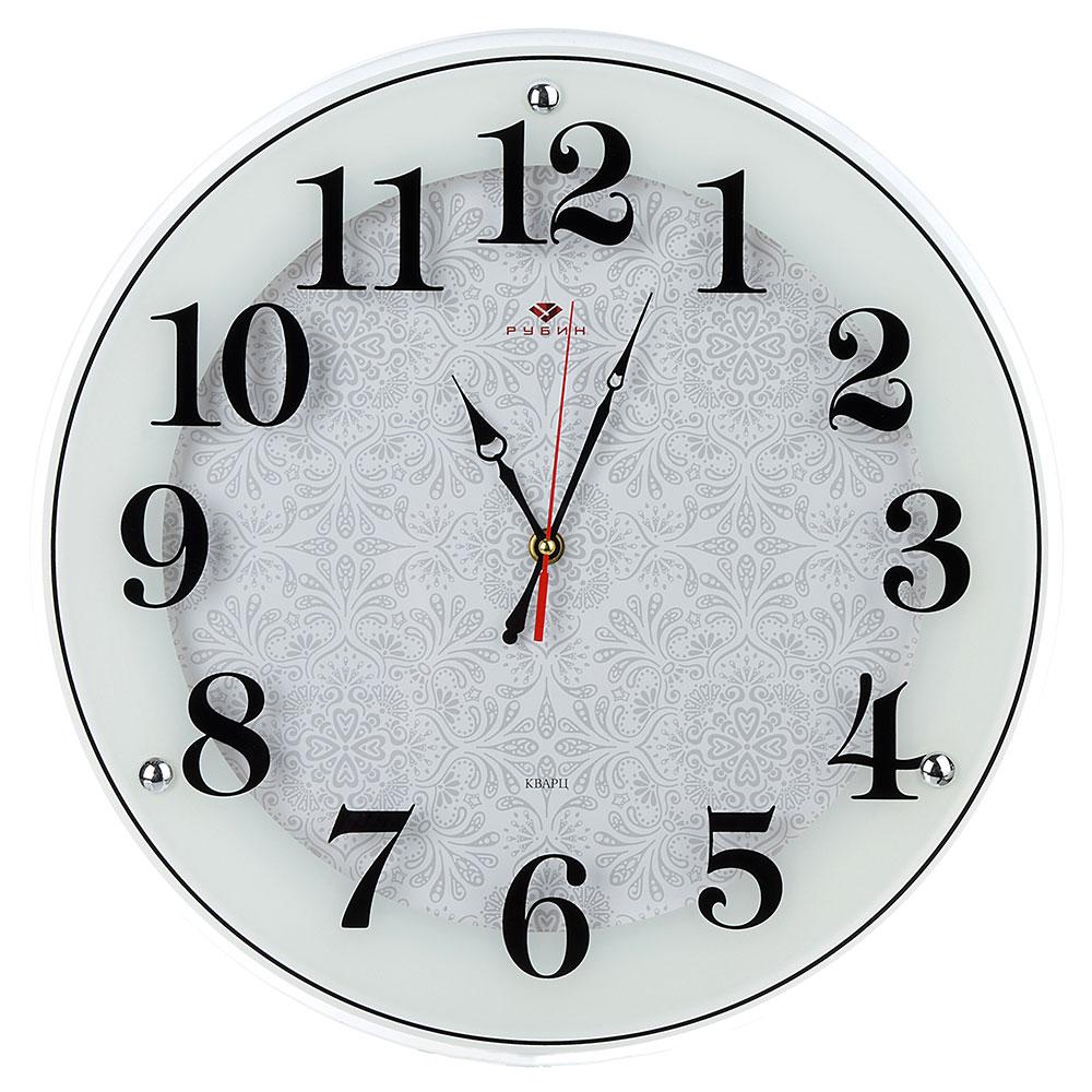 """Часы настенные круглые, стекло, d39см, белый, """"Классика с узором"""""""