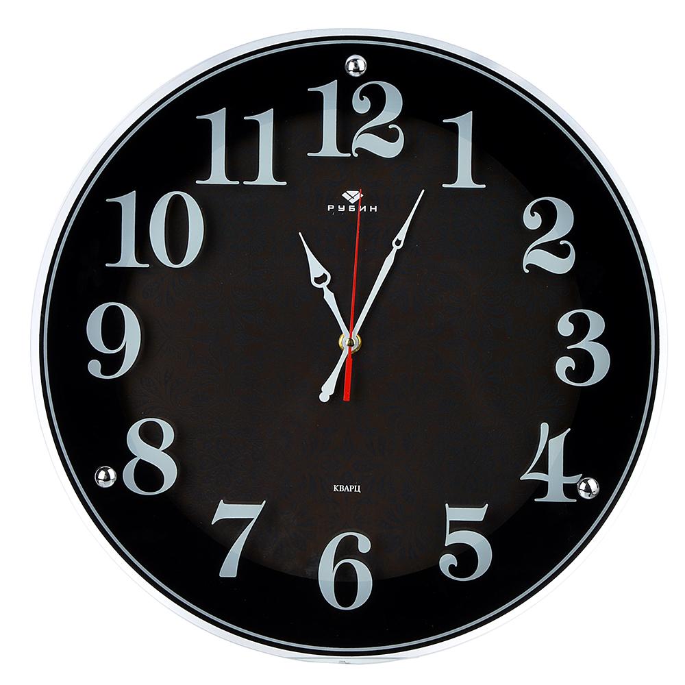 """Часы настенные круглые, стекло, d39см,черный """"Классика с узором"""""""